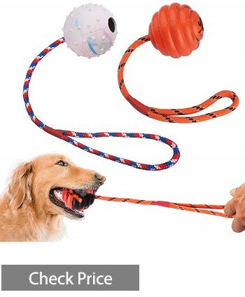 PrimePets 2 Pcs Dog Ball on Rope